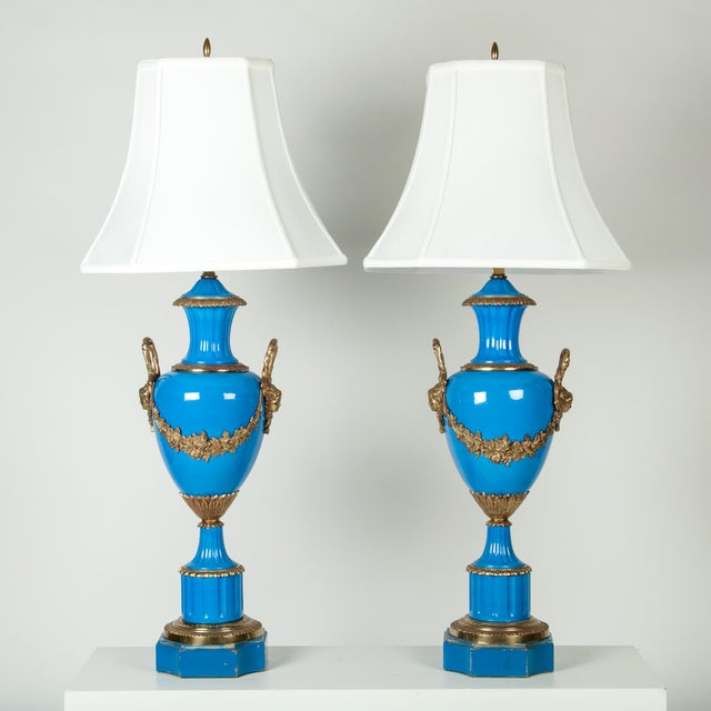 Early 19th Century Antique Blue Brass Detail Porcelain Lamps - a Pair For Sale - Image 5 of 5