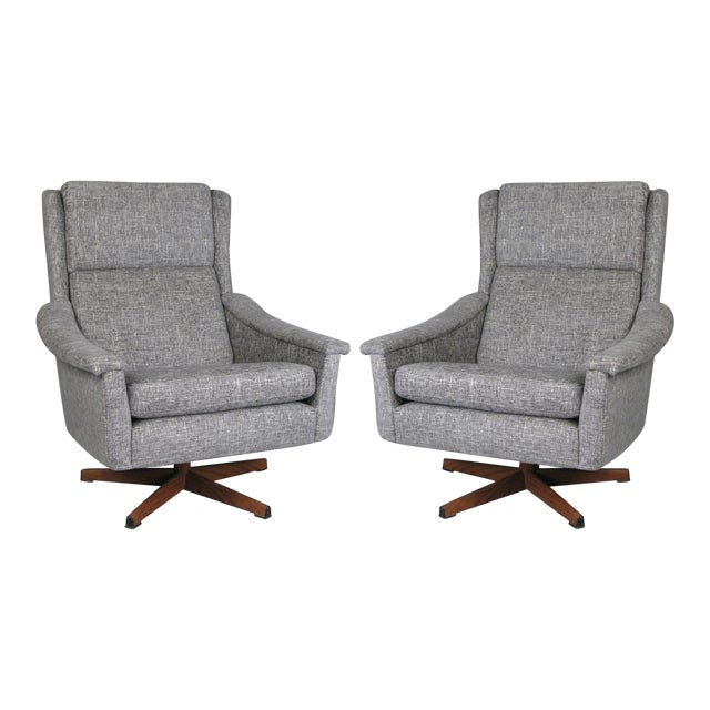 1950s Danish High Back Swivel Lounge Chairs - a Pair For Sale