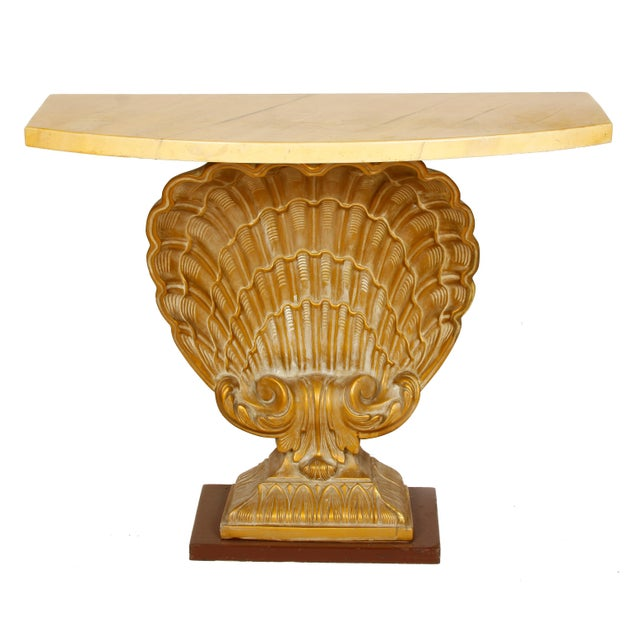 English Grosvenor House Vintage Shell Console with Faux Marble Top For Sale - Image 3 of 5