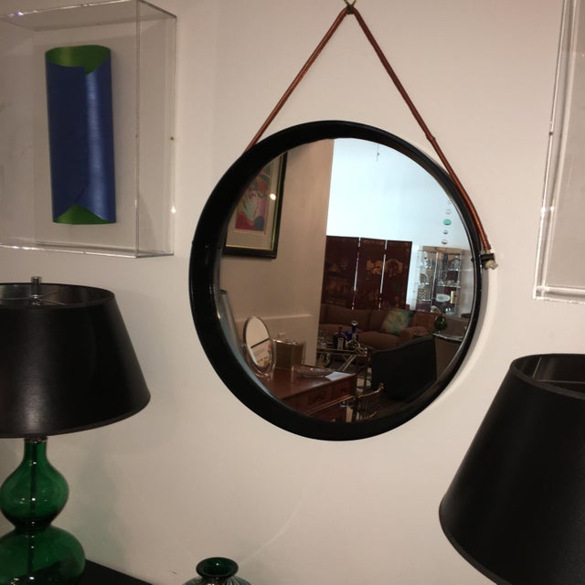Mid Century Modern Jacques Adnet Style Black Lacquered Mirror with Copper Leather Strap - Image 2 of 8