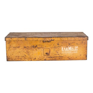 Distressed Steel Tractor Storage Tool Box C. 1940s For Sale