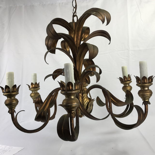 Gold French Mid-Century Chandelier For Sale - Image 8 of 8