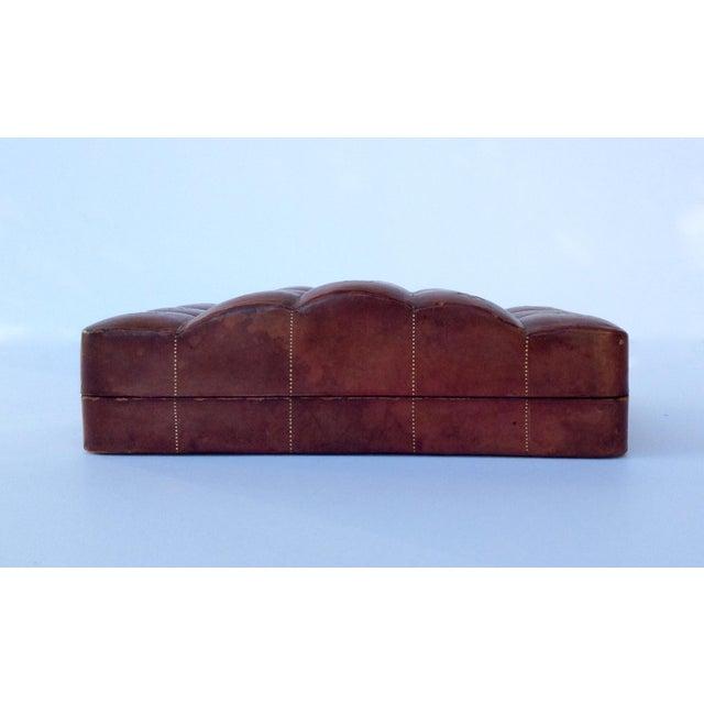 Italian Leather Hand-Tooled Embossed Lidded Keepsake Box For Sale - Image 4 of 11