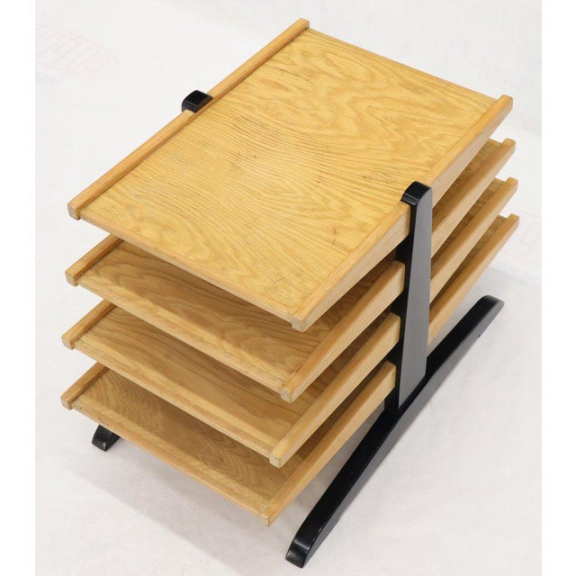Mid-Century Modern Oak 4-Tier Magazine Rack Stand Shelf Storage For Sale - Image 6 of 10