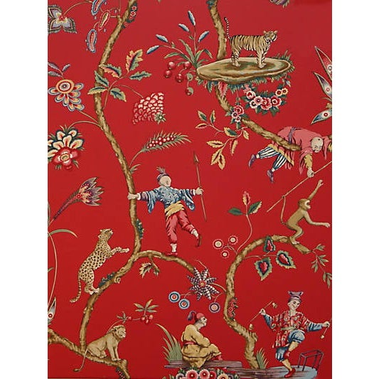 Traditional Sample, Scalamandre Chinoise Exotique Wallpaper, Tomato For Sale - Image 3 of 3