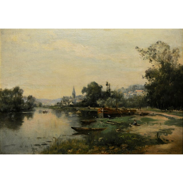 Maurice Levis -Picturesque French River Scene -19th Century Oil Painting For Sale - Image 4 of 10