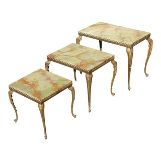 Circa 1940s French Maison Jansen Bronze Onyx Top Nesting Tables - Set of 3 For Sale