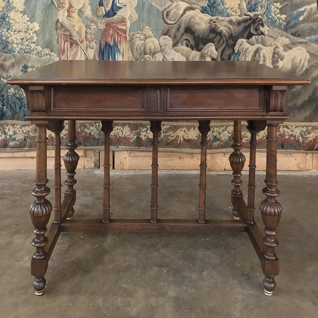 Wood 19th Century French Henri II Walnut Writing Table For Sale - Image 7 of 13