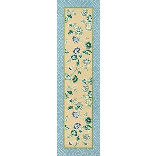 """Madcap Cottage Under a Loggia Blossom Dearie YellowIndoor/Outdoor Area Rug 2'3"""" X 8' Runner For Sale"""