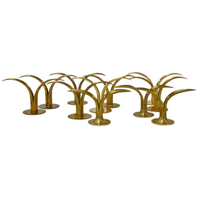 Circa 1950 Grouping of 11 Swedish Ystad Metall Brass Candleholders For Sale - Image 11 of 11