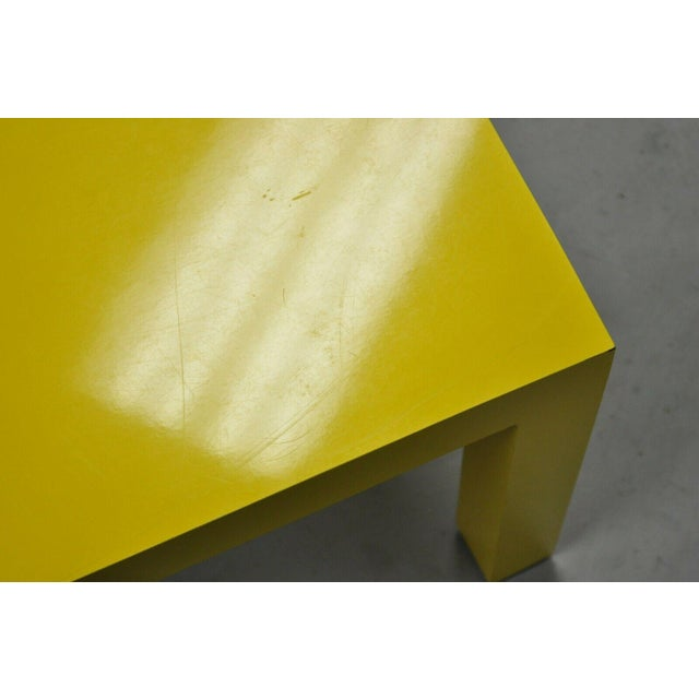 Yellow 1970s Vintage Thayer Coggin Milo Baughman Yellow Parsons Style Laminate End Table For Sale - Image 8 of 10