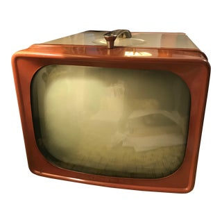 Vintage Red G.E. Television