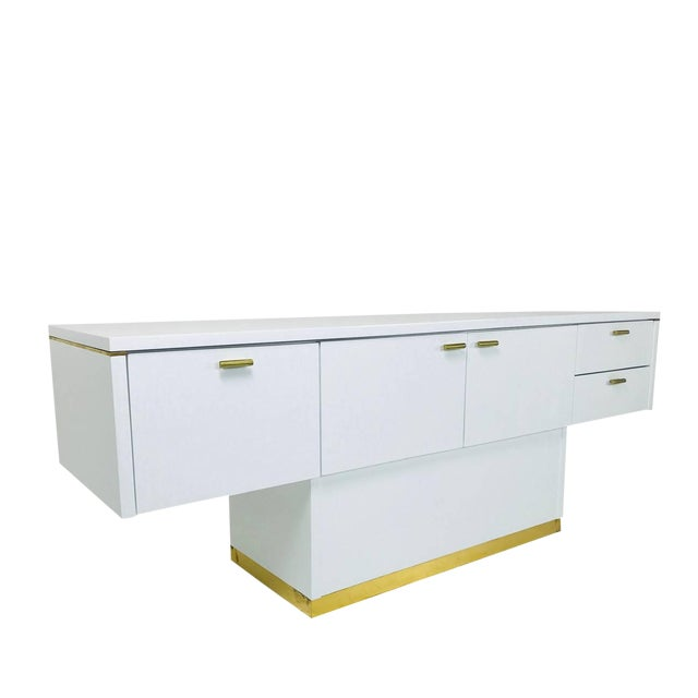 Lacquered T-Console/Sideboard With Brass Accents For Sale