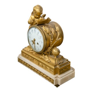 French Dore Bronze Figural Clock For Sale