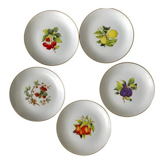 Handpainted Gilt Assorted Fruit Design Dessert Plates - Set of 5 For Sale