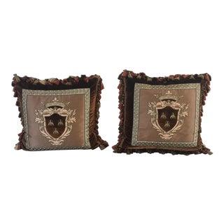 Silk Velvet Pillows With Appliqué Crest - a Pair For Sale