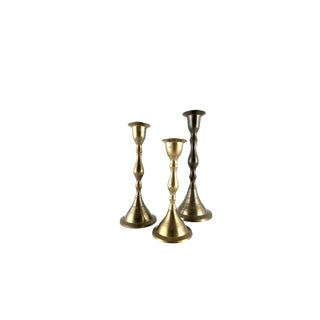 Vintage Hand Made Brass Candlestick Holders - Set of 3 For Sale