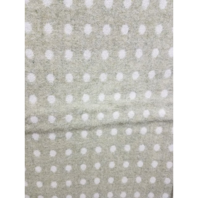 2020s Merino Wool Throw Light Green Polka Dot - Made in England For Sale - Image 5 of 8