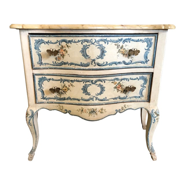 1950s Shabby Chic Italian Cream Hand Painted Chest of Drawers For Sale