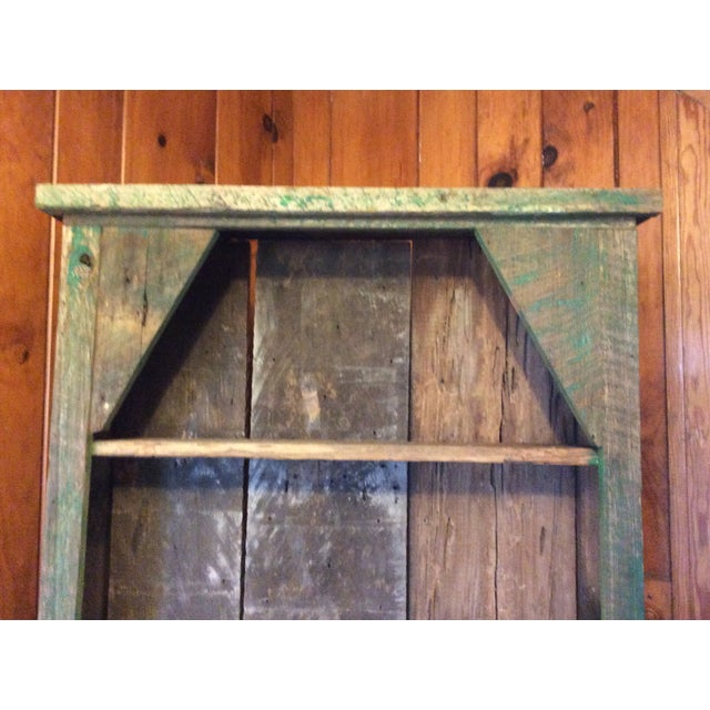 Primitive Wood Green Hutch For Sale - Image 12 of 13