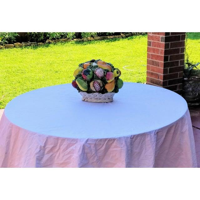 Vintage Majolica Intrada Italian Ceramic Fruit & Vegetable Oversized Basket Pottery Centerpiece For Sale - Image 12 of 12
