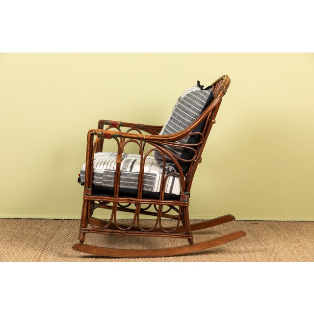 Adirondack 1920s Bent Wood Rocking Chair With Injiri Upholstery For Sale - Image 3 of 8