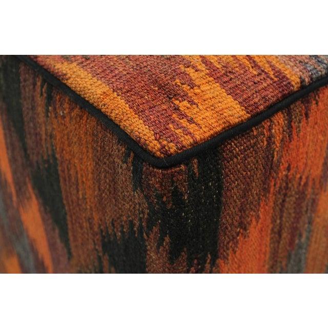 Boho Chic Camp Orange/Rust Handmade Kilim Upholstered Ottoman For Sale In New York - Image 6 of 8