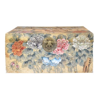 Antique Chinese Painted Peonies Parchment Trunk For Sale