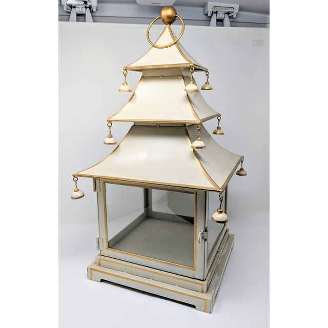 Metal Asian Antiqued Three-Tier Tole Pagoda Lantern For Sale - Image 7 of 13