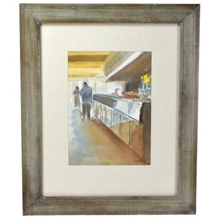 Quiet Day at the Ice Cream Counter Impressionist Inspired Watercolor Painting For Sale