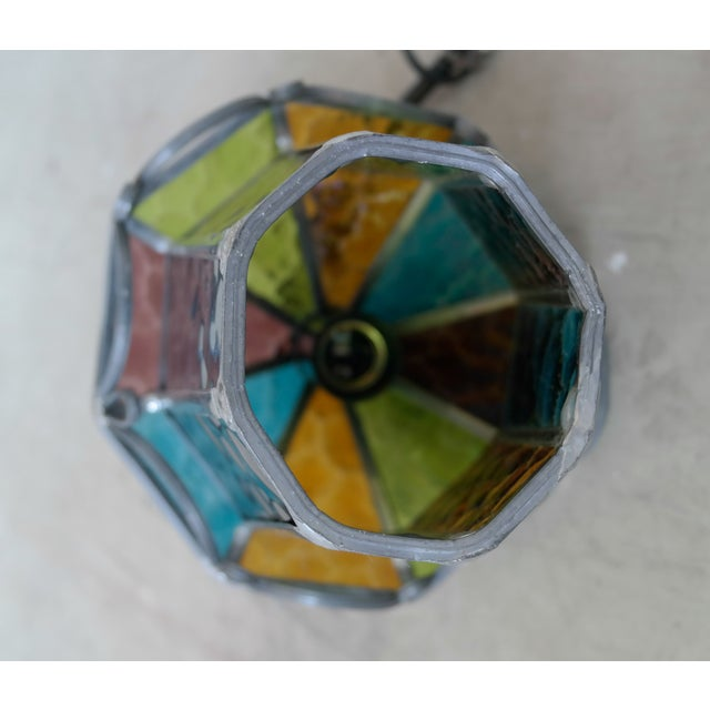 Danish Cast Iron & Multicolor Glass Pendants- Pair - Image 6 of 7