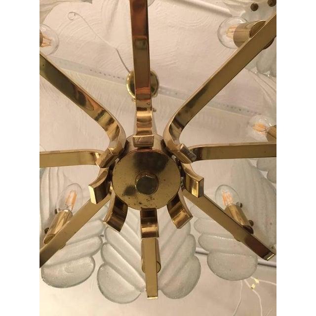 1960s 1950s Orrefors Carl Fagerlund Glass Leaves Brass Chandelier For Sale - Image 5 of 9