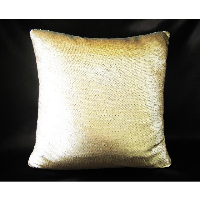 Contemporary Gold & Silver Sequin Decorative Pillow For Sale - Image 3 of 4