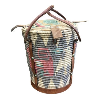 Multi Colored Indian Woven Basket For Sale