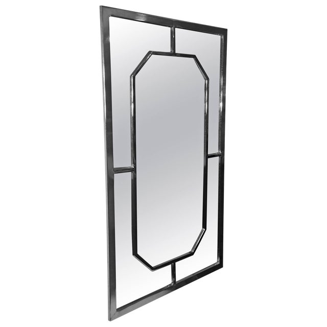 Modern Chrome Rectangular Mirror With Octagonal Center For Sale