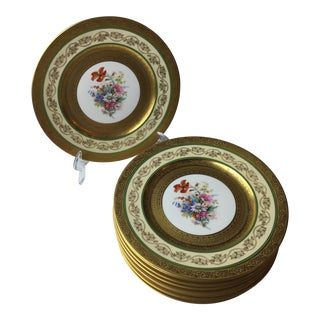 Hutschenreuther Floral Gold Scroll Trim Plates - Set of 8 For Sale