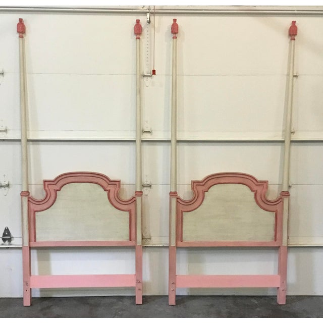 John Widdicomb Painted Pink Twin Bed Headboards - A Pair For Sale - Image 9 of 9
