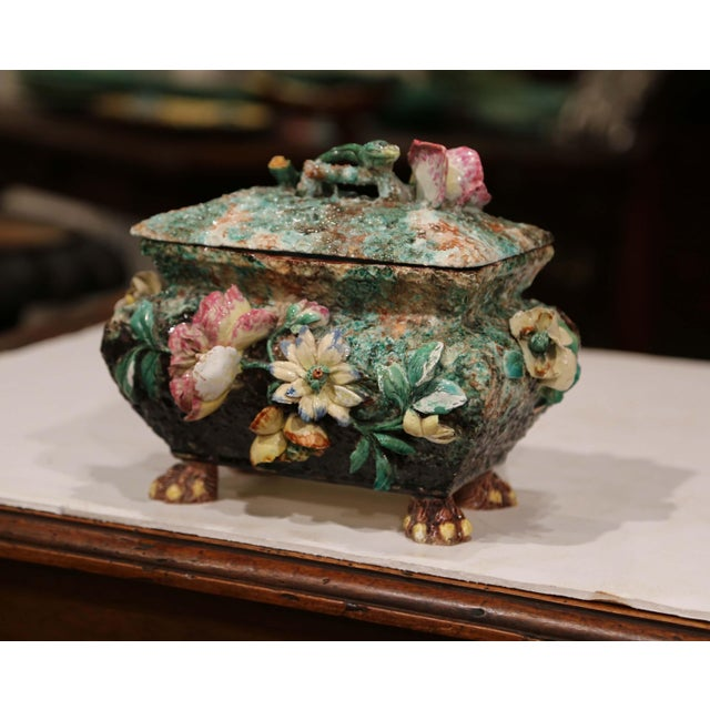 19th Century French Painted Ceramic Barbotine Decorative Box With Floral Motif For Sale - Image 4 of 11
