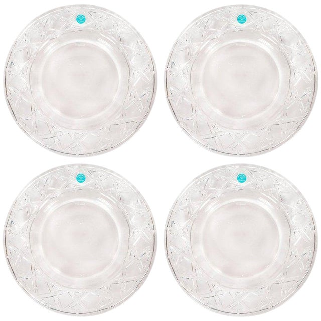 Set of Four Glass Basketweave Dessert/Hors d'Oeuvres Plates by Tiffany & Co. For Sale