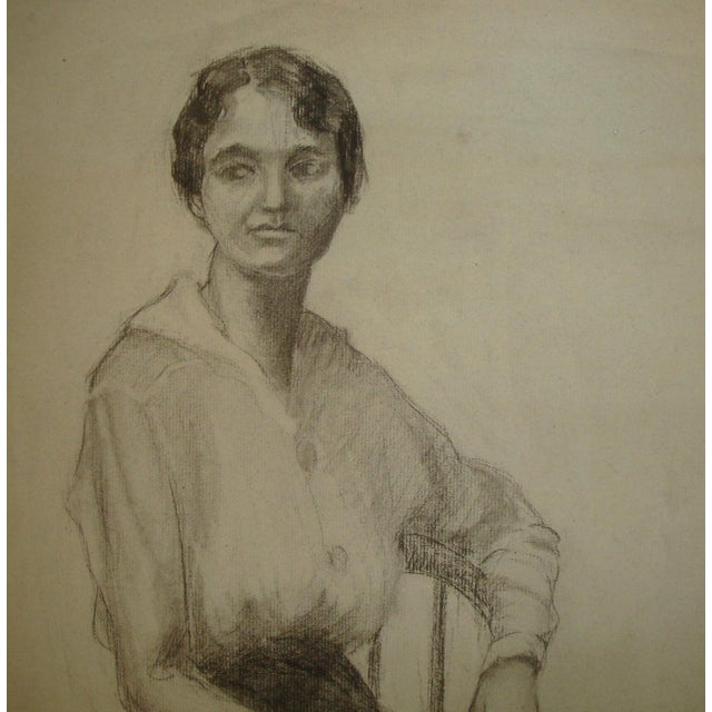 Intimate large charcoal full-length portrait of a seated woman with short bobbed hair in afternoon attire, dating to the...