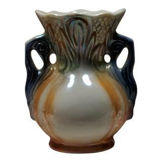 Vintage Brazilian Lustreware Iridecent Ceramic Floral Vase W Handles For Sale