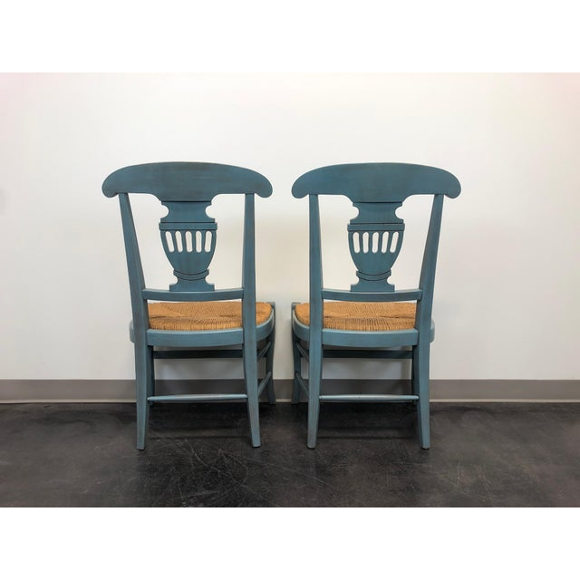 Late 20th Century Country Cottage Shabby Chic Painted Distressed Dining Chairs - Pair 2 For Sale - Image 5 of 11