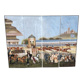 Vintage Day at the Horse Races Painted Mural Screen - 4 Pieces For Sale