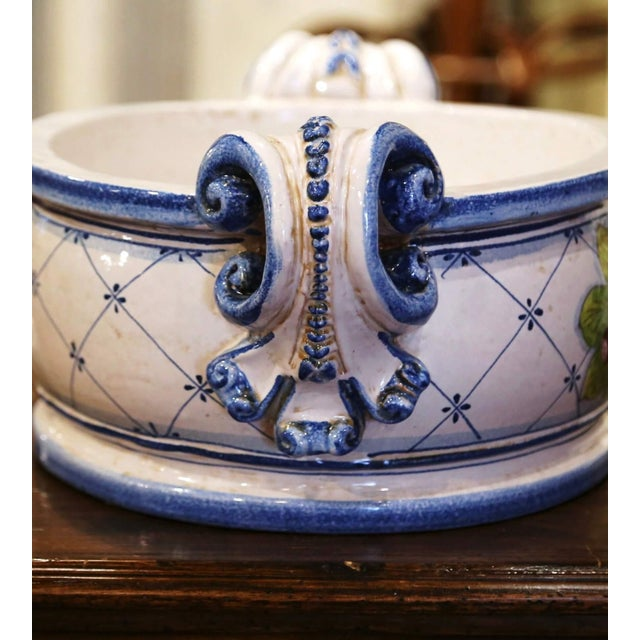 Blue Vintage French Hand Painted Oval Dish With Handles For Sale - Image 8 of 11