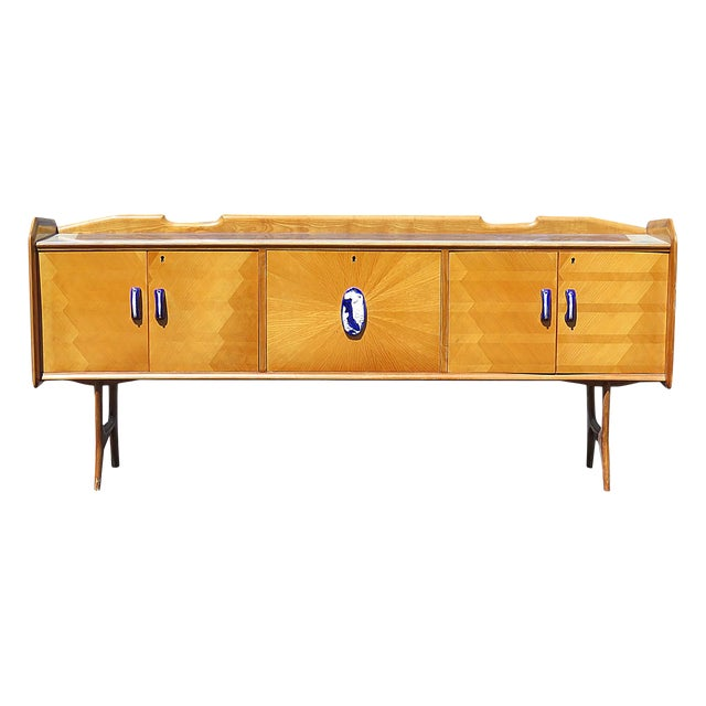 Mid Century Italian Glass Top Credenza For Sale