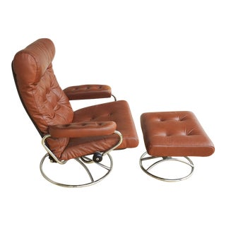 Ekornes Stressless Leather & Chrome Recliner & Ottoman