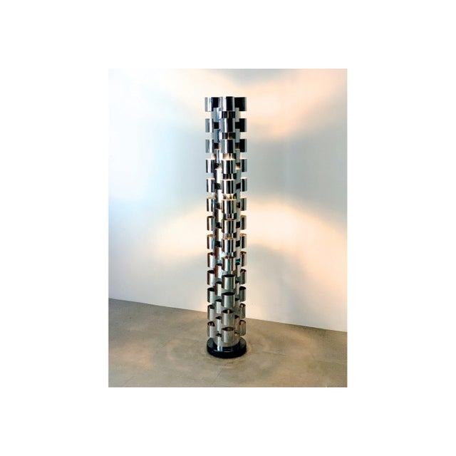 1970s Curtis Jere Chrome Skyscraper Floor Lamp For Sale - Image 10 of 10