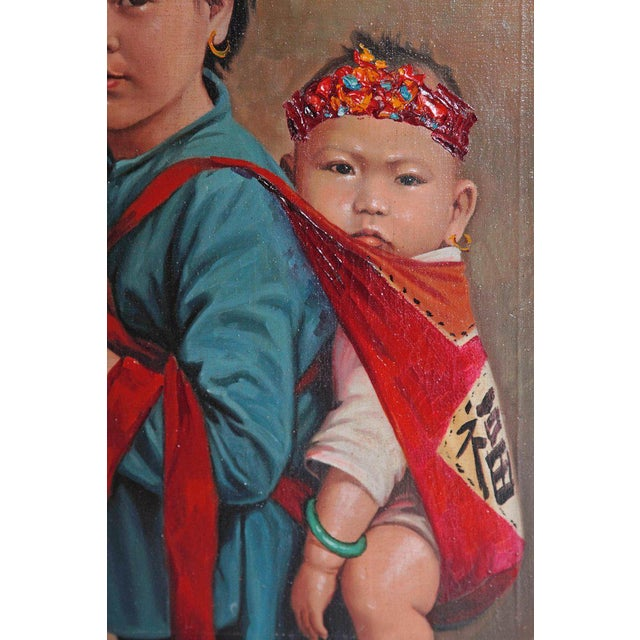 Chinese Oil Painting of Young Girl Carrying Baby For Sale - Image 4 of 12