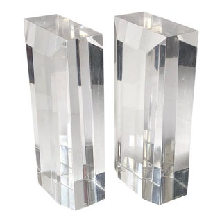 Mid Century Faceted Lucite Block Bookends - a Pair For Sale