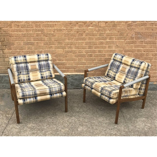 Mid-Century Modern Mid-Century Modern Harvey Probber Style Upholstered Club Chairs- A Pair For Sale - Image 3 of 11